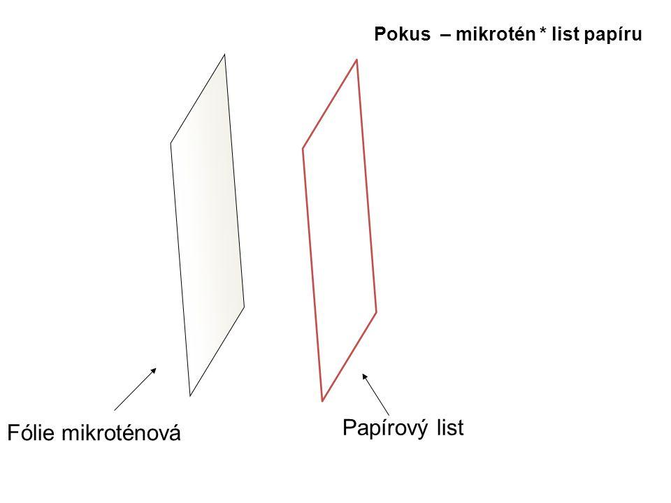Pokus – mikrotén * list papíru