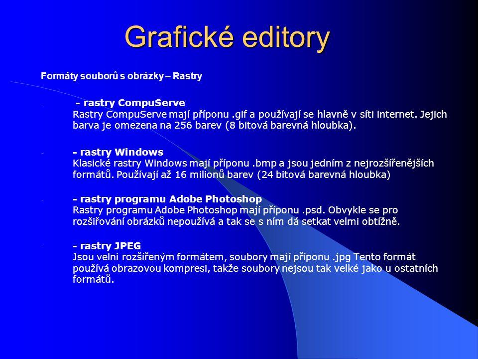 Grafické editory Formáty souborů s obrázky – Rastry