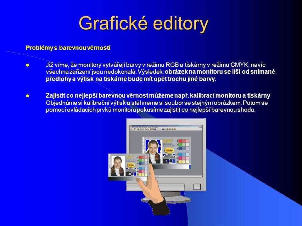 Grafické editory Problémy s barevnou věrností