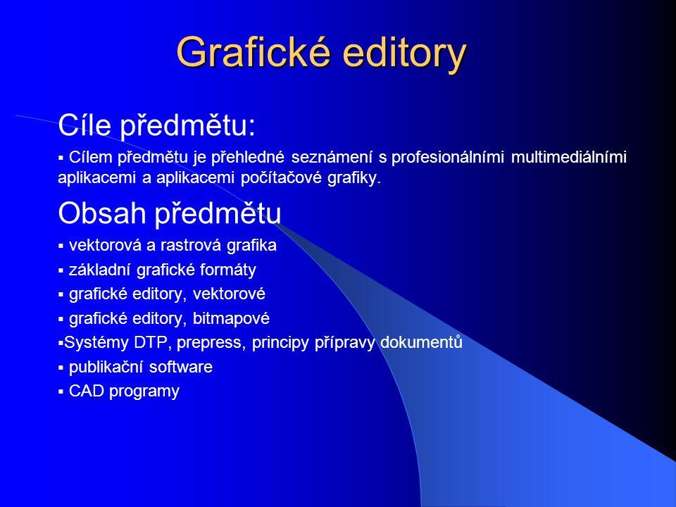 Grafické editory Cíle předmětu: Obsah předmětu
