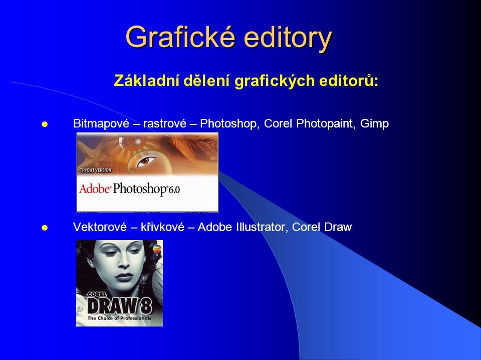 Základní dělení grafických editorů: