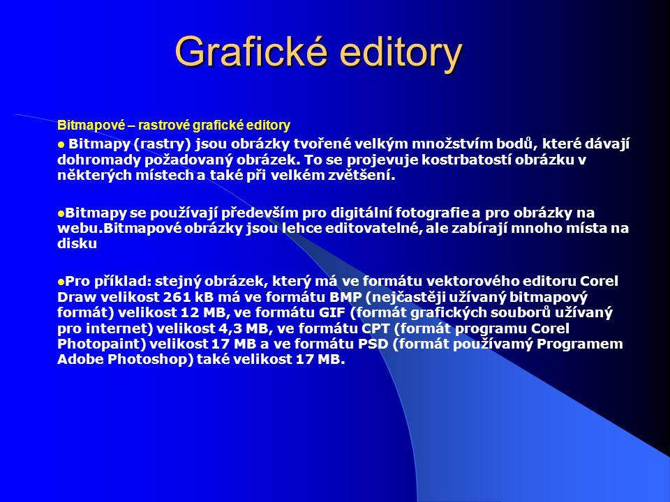 Grafické editory Bitmapové – rastrové grafické editory