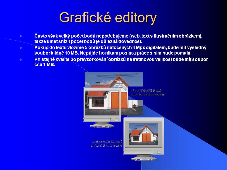 Grafické editory Často však velký počet bodů nepotřebujeme (web, text s ilustračním obrázkem), takže umět snížit počet bodů je důležitá dovednost.