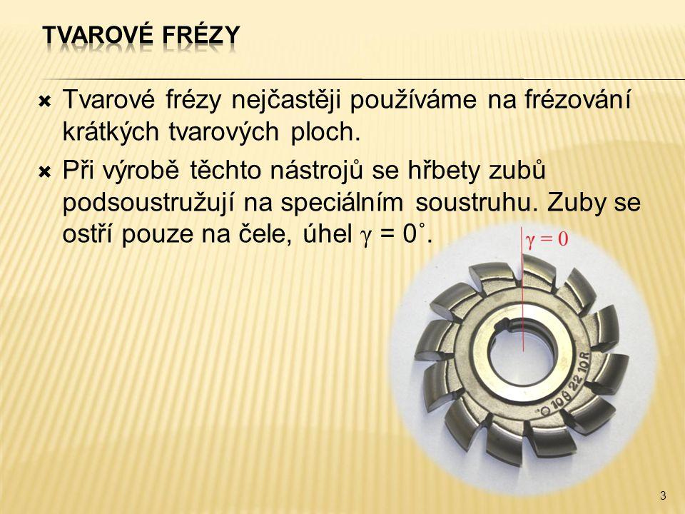 Tvarové frézy Tvarové frézy nejčastěji používáme na frézování krátkých tvarových ploch.