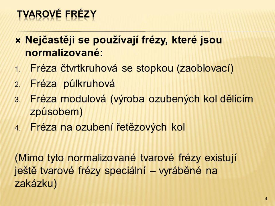 Nejčastěji se používají frézy, které jsou normalizované: