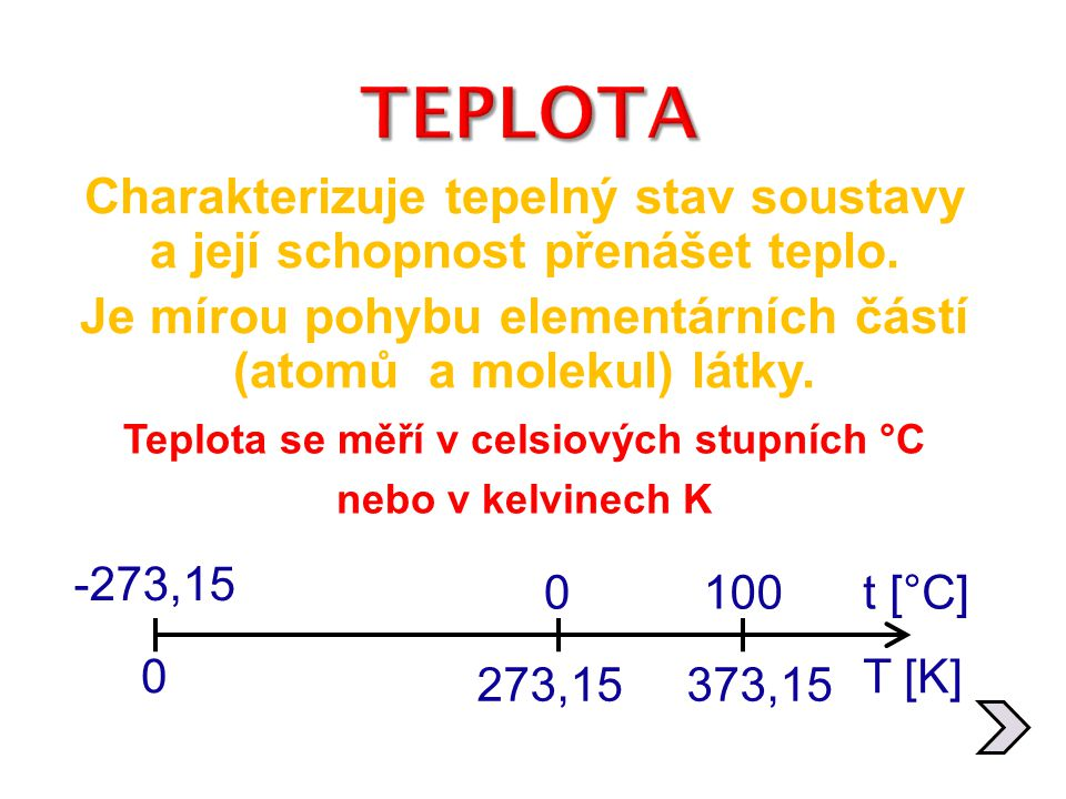 Teplota se měří v celsiových stupních °C