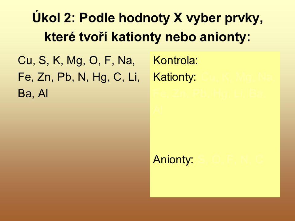 Úkol 2: Podle hodnoty X vyber prvky, které tvoří kationty nebo anionty: