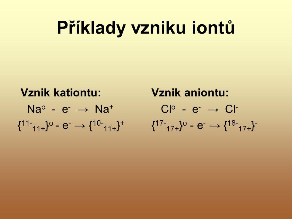 Příklady vzniku iontů Vznik kationtu: Nao - e- → Na+