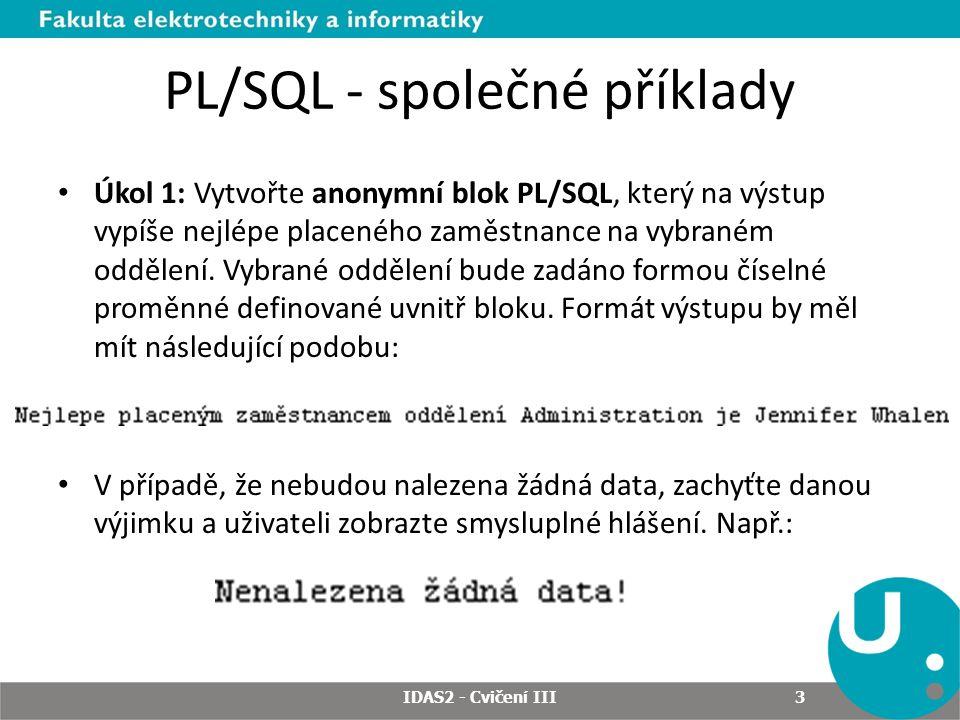 PL/SQL - společné příklady