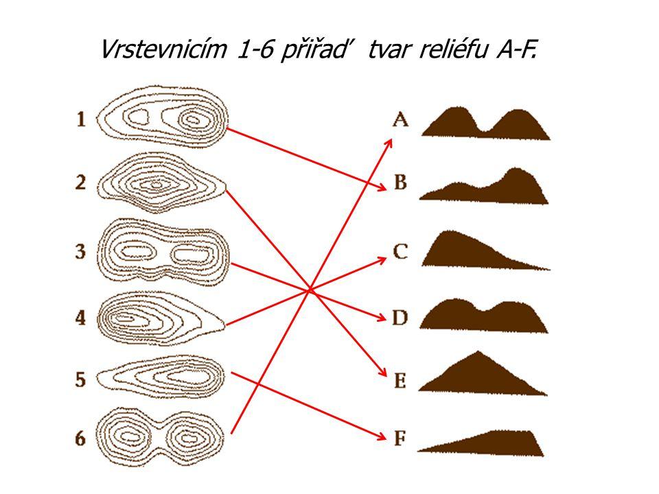 Vrstevnicím 1-6 přiřaď tvar reliéfu A-F.