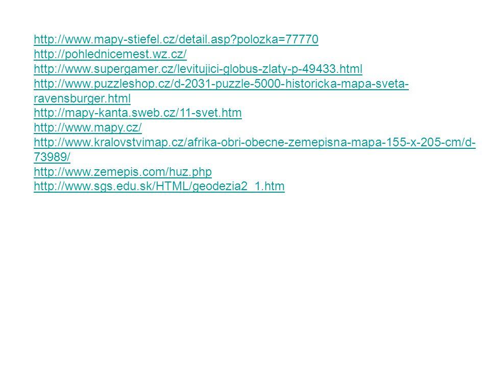 http://www.mapy-stiefel.cz/detail.asp polozka=77770 http://pohlednicemest.wz.cz/ http://www.supergamer.cz/levitujici-globus-zlaty-p-49433.html.