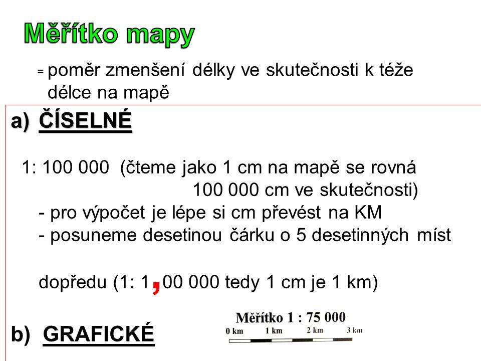 Měřítko mapy ČÍSELNÉ b) GRAFICKÉ délce na mapě