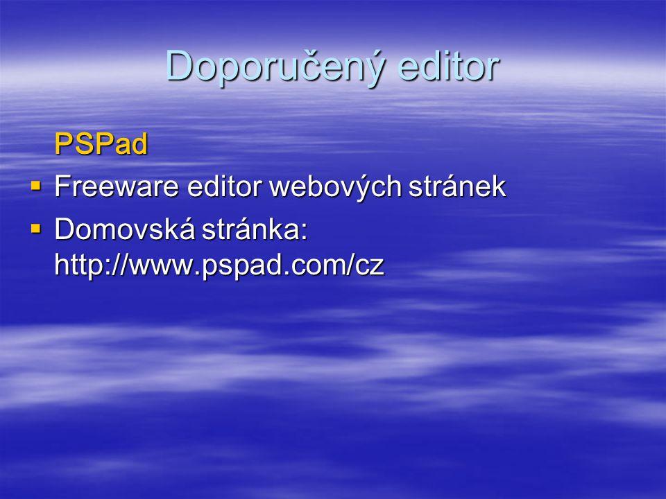 Doporučený editor PSPad Freeware editor webových stránek
