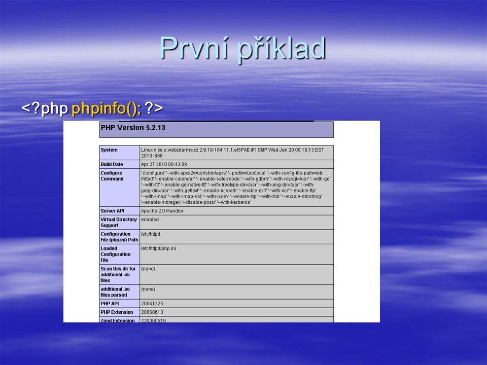 První příklad < php phpinfo(); >