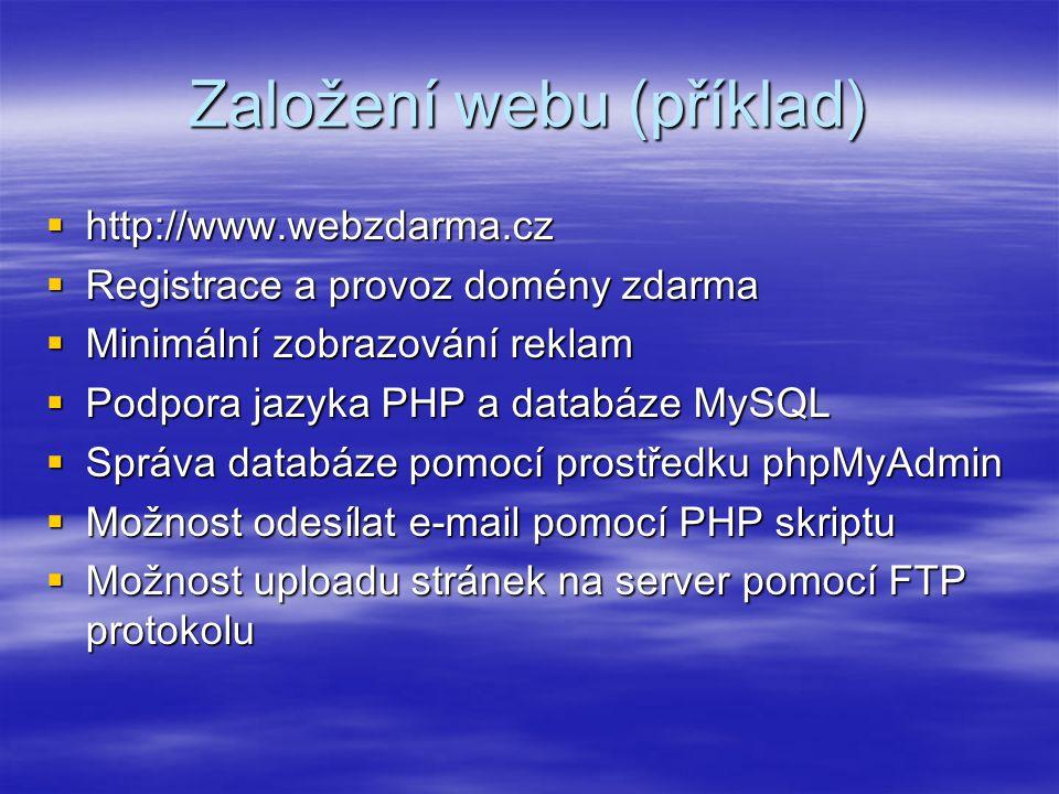 Založení webu (příklad)