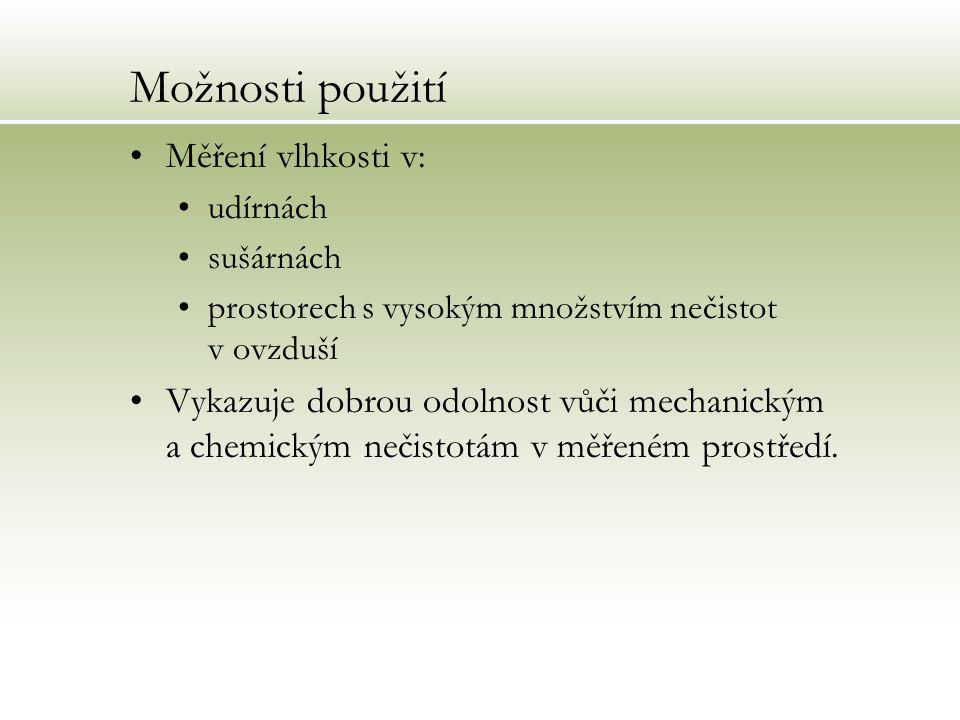 Možnosti použití Měření vlhkosti v: