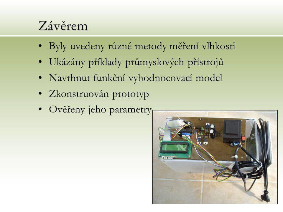 Závěrem Byly uvedeny různé metody měření vlhkosti