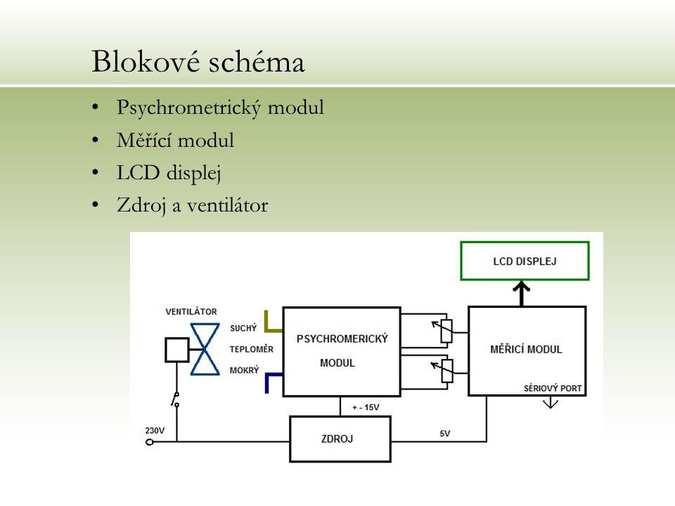 Blokové schéma Psychrometrický modul Měřící modul LCD displej
