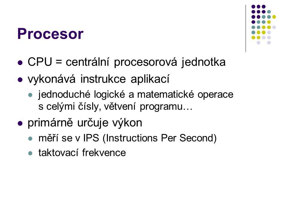 Procesor CPU = centrální procesorová jednotka
