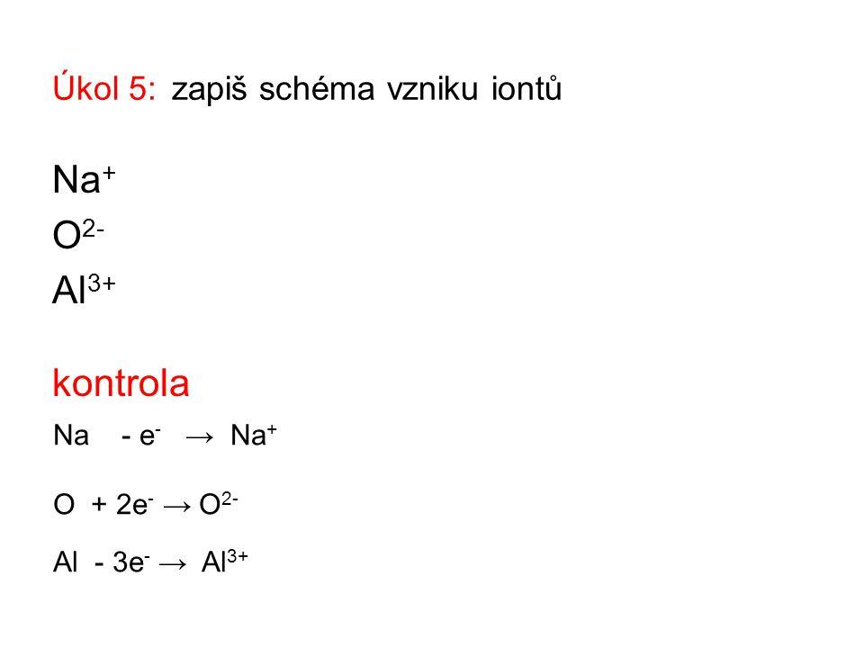 Úkol 5: zapiš schéma vzniku iontů