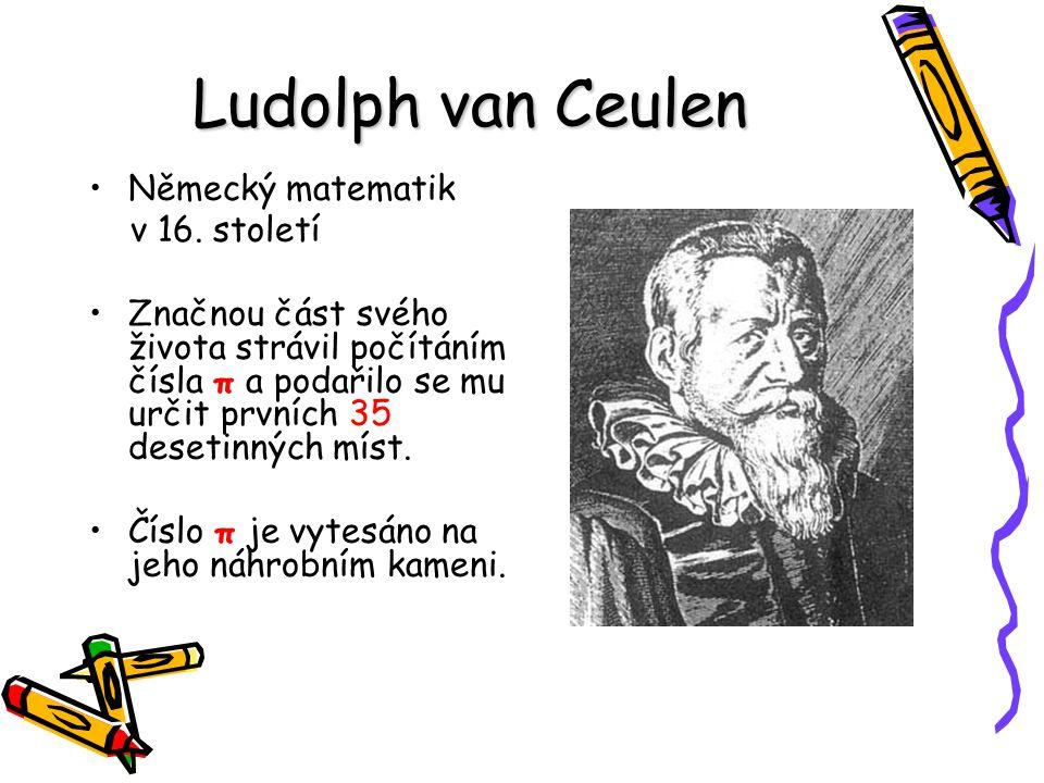Ludolph van Ceulen Německý matematik v 16. století