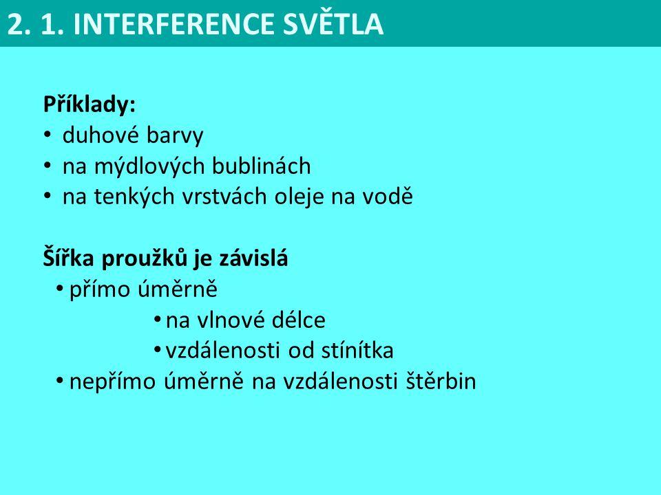 2. 1. INTERFERENCE SVĚTLA Příklady: duhové barvy
