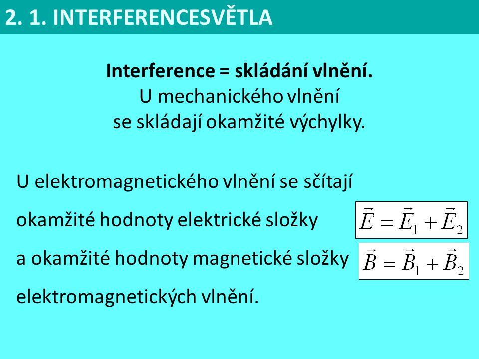 2. 1. INTERFERENCESVĚTLA Interference = skládání vlnění.
