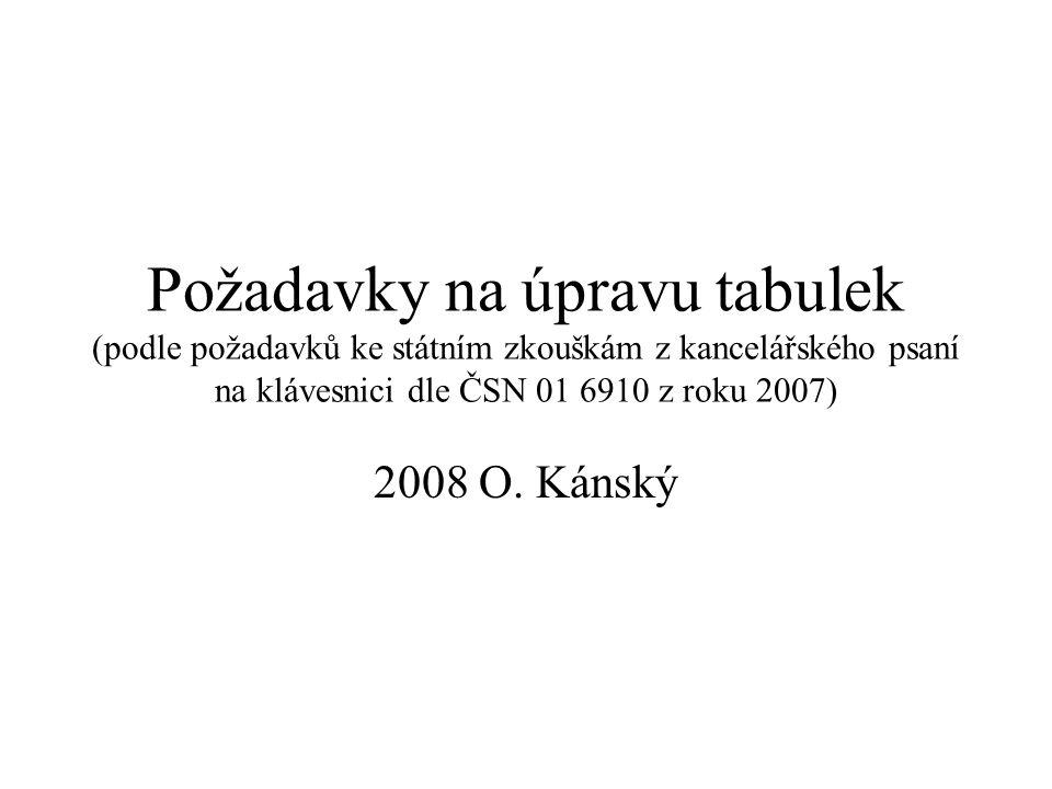 Požadavky na úpravu tabulek (podle požadavků ke státním zkouškám z kancelářského psaní na klávesnici dle ČSN 01 6910 z roku 2007)
