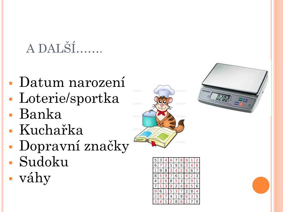 Datum narození Loterie/sportka Banka Kuchařka Dopravní značky Sudoku