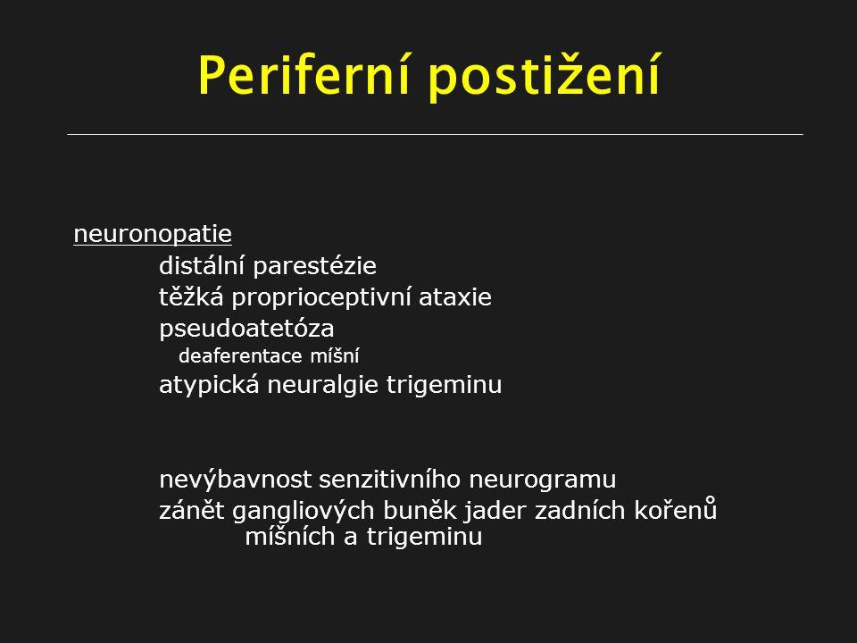 Periferní postižení neuronopatie distální parestézie