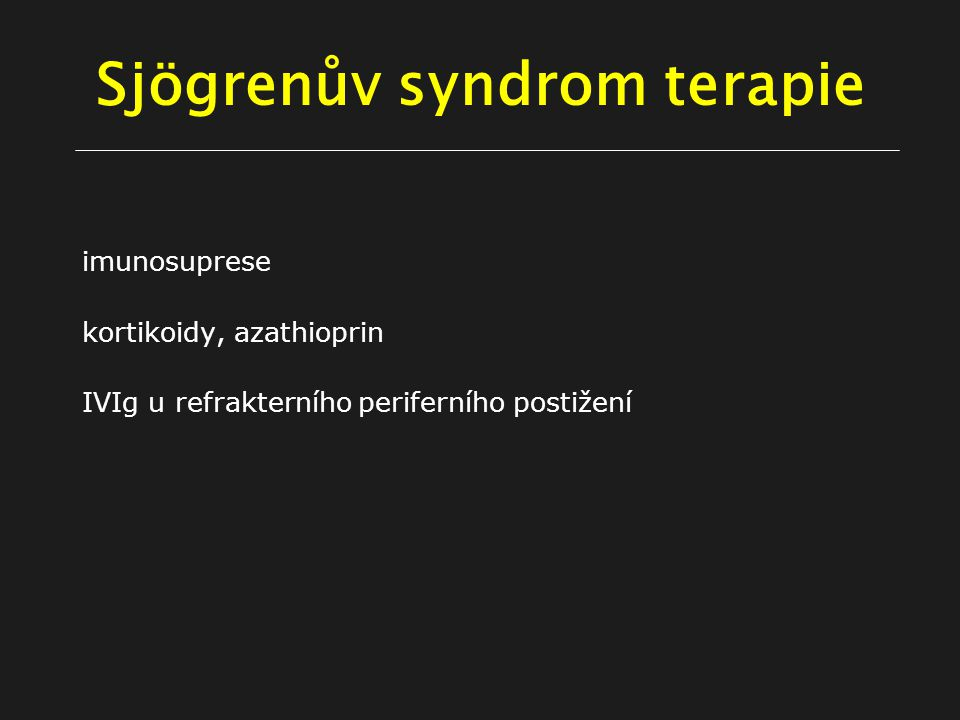 Sjögrenův syndrom terapie