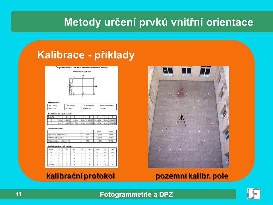 Metody určení prvků vnitřní orientace