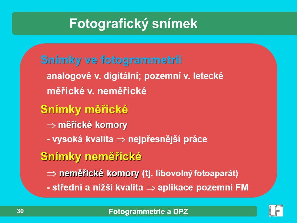 Fotografický snímek Snímky ve fotogrammetrii Snímky měřické