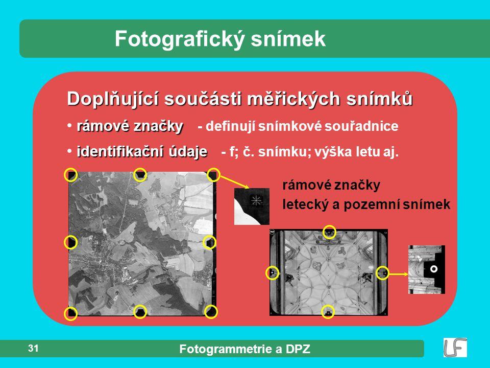 Fotografický snímek Doplňující součásti měřických snímků