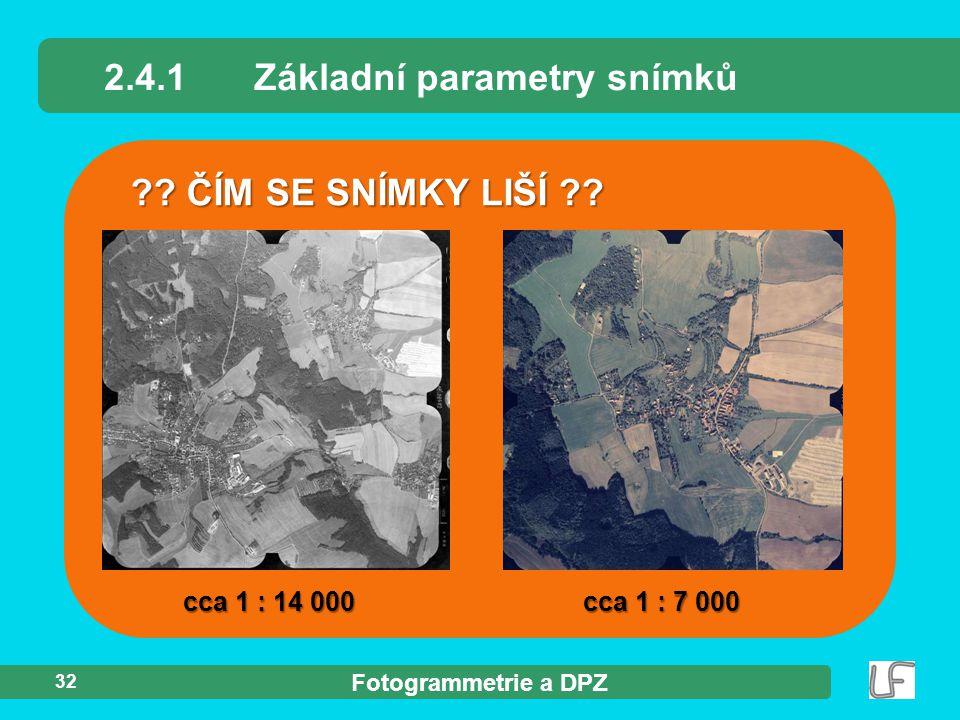 2.4.1 Základní parametry snímků