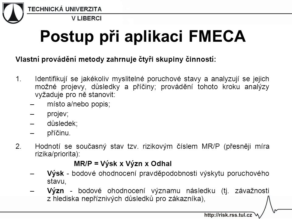 Postup při aplikaci FMECA
