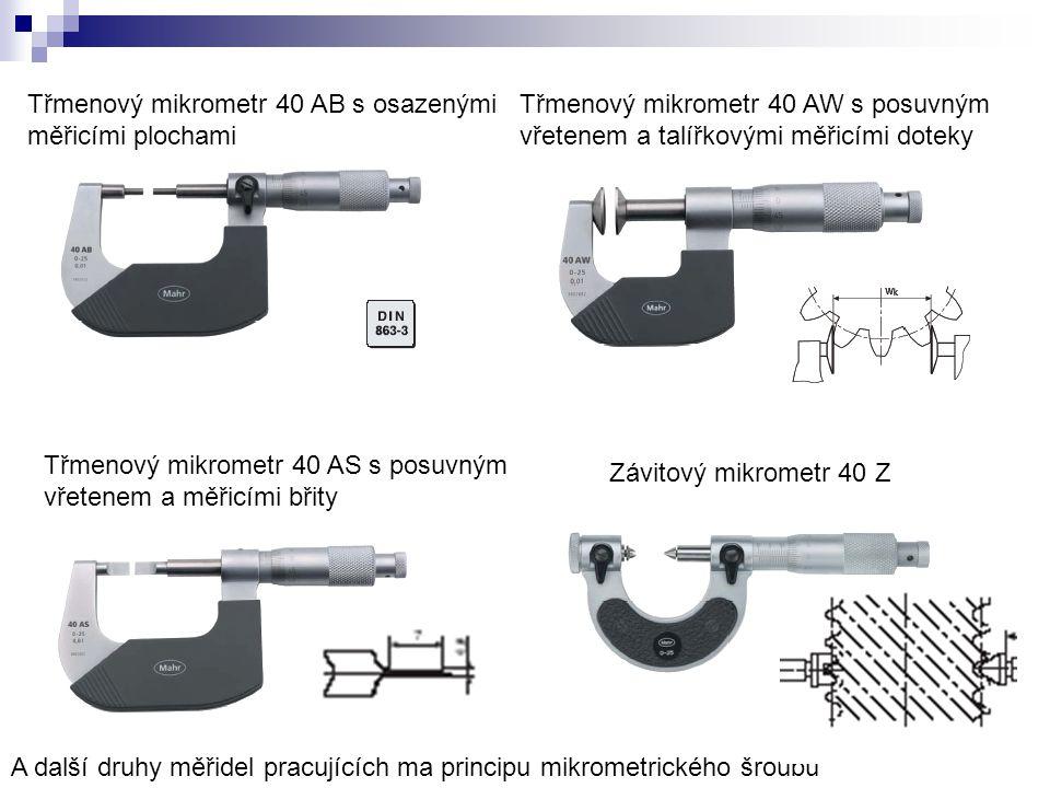Třmenový mikrometr 40 AB s osazenými měřicími plochami