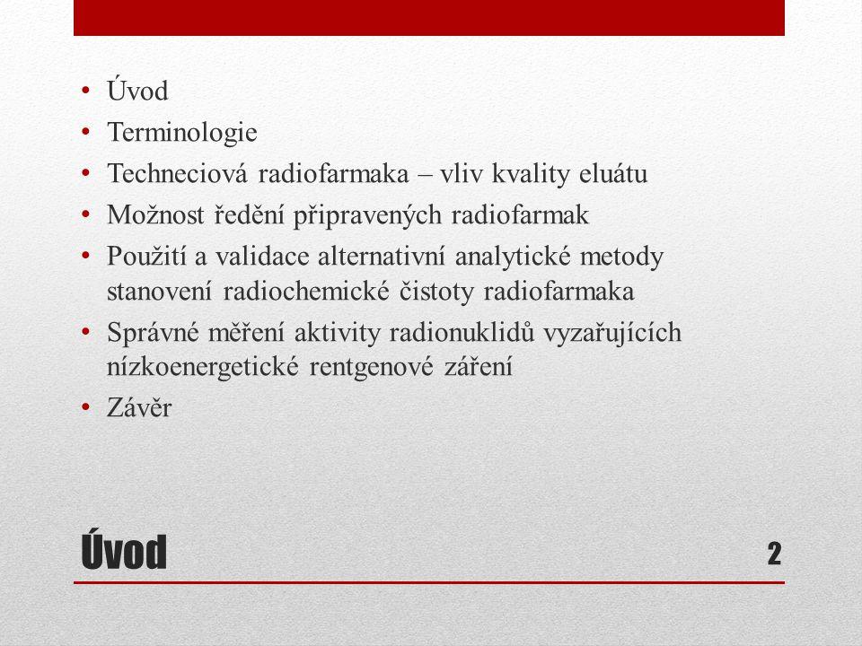 Úvod Úvod Terminologie Techneciová radiofarmaka – vliv kvality eluátu
