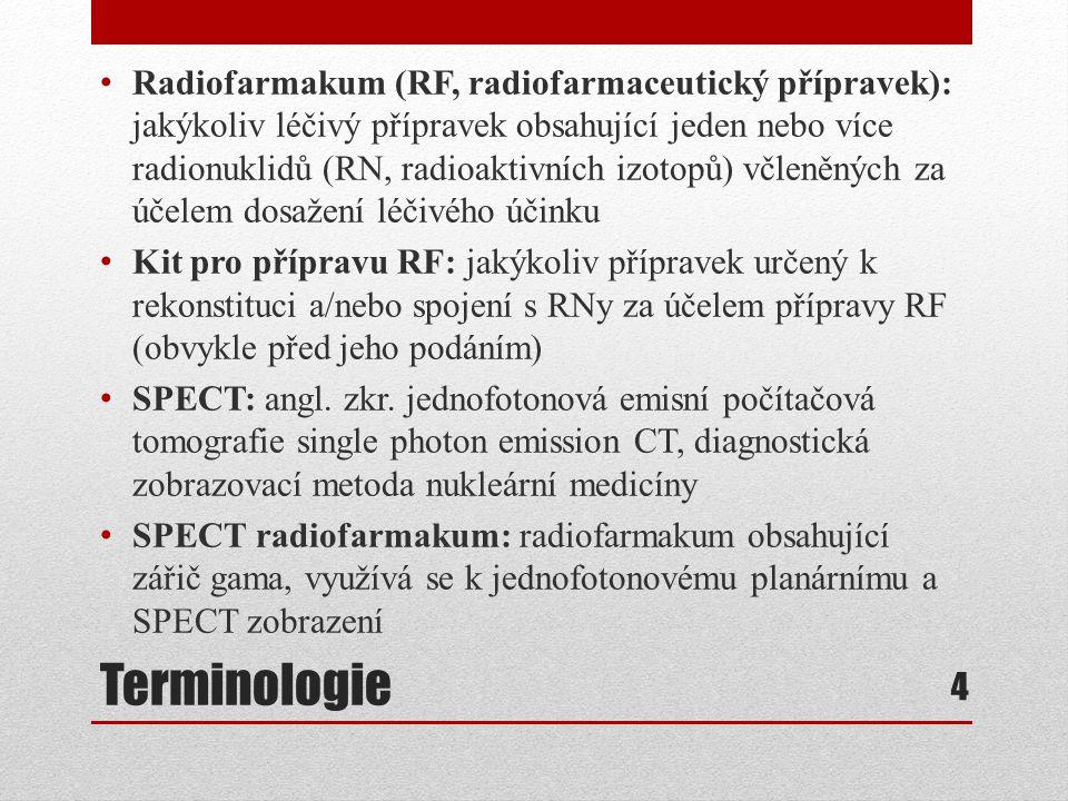 Radiofarmakum (RF, radiofarmaceutický přípravek): jakýkoliv léčivý přípravek obsahující jeden nebo více radionuklidů (RN, radioaktivních izotopů) včleněných za účelem dosažení léčivého účinku