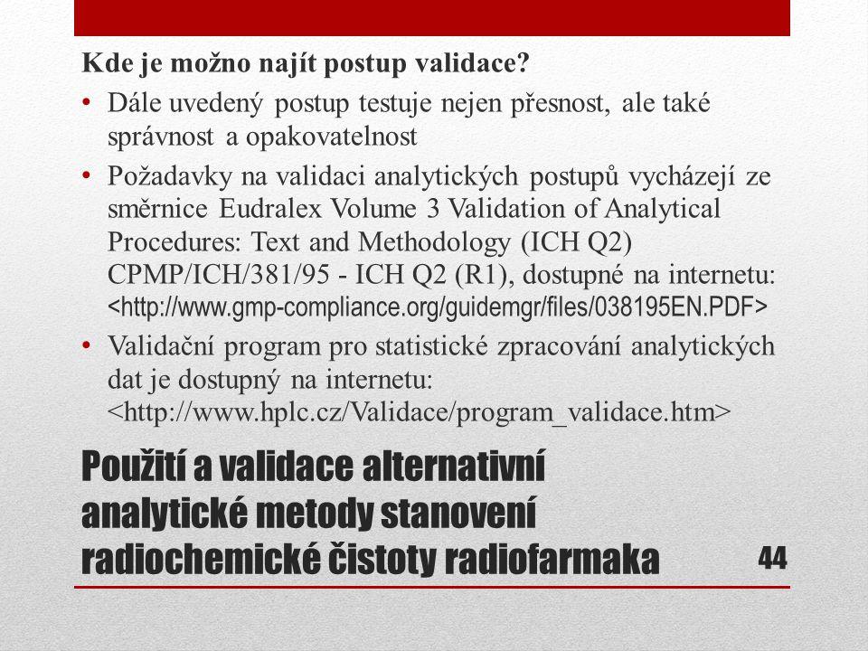 Kde je možno najít postup validace
