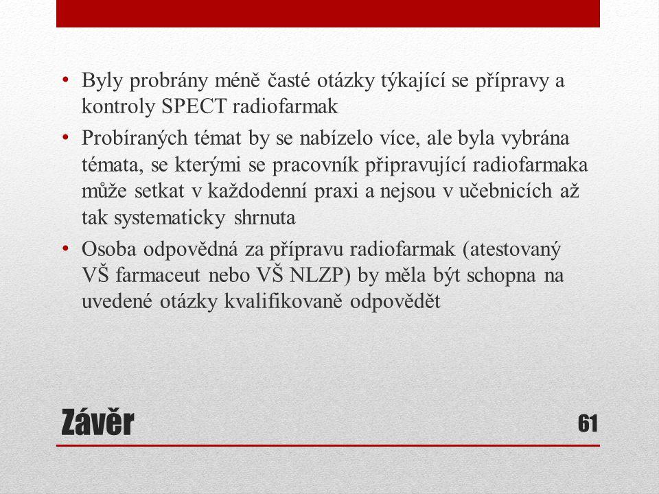 Byly probrány méně časté otázky týkající se přípravy a kontroly SPECT radiofarmak