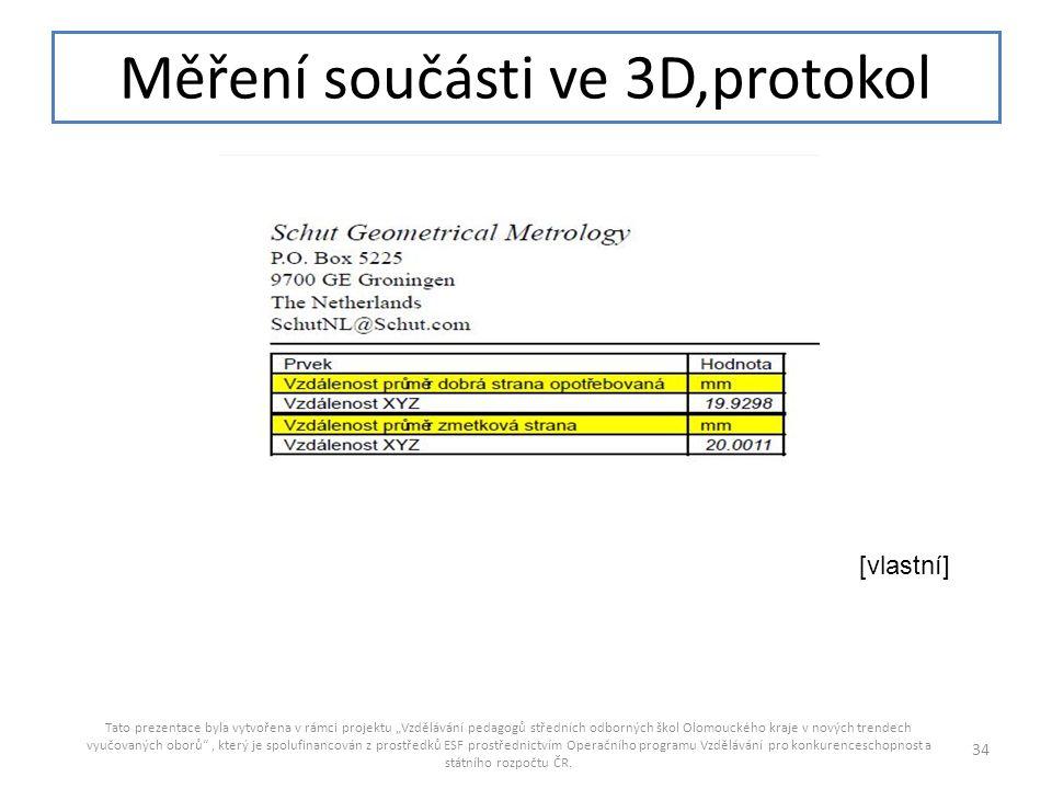 Měření součásti ve 3D,protokol