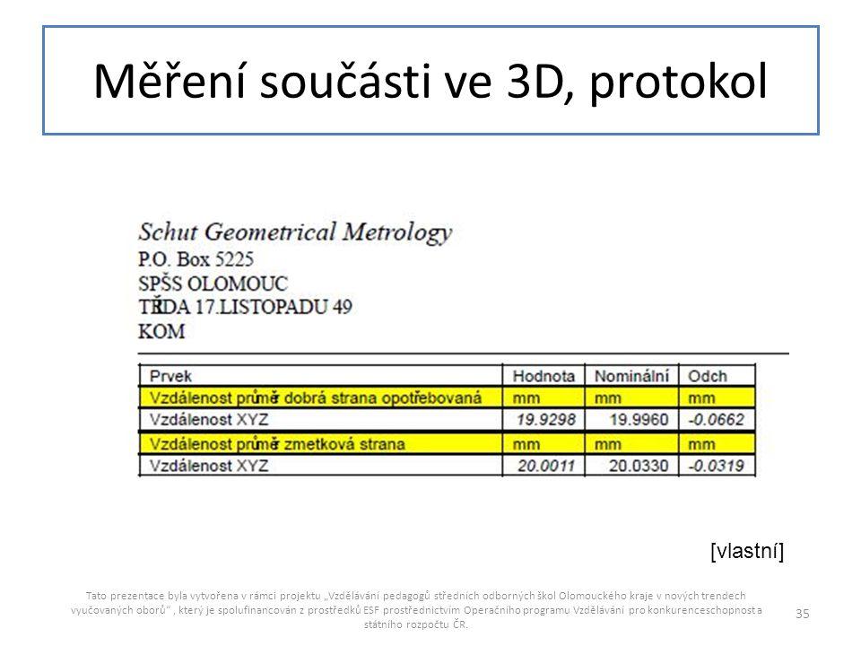 Měření součásti ve 3D, protokol
