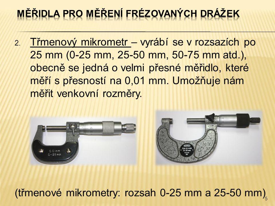 Měřidla pro měření frézovaných drážek