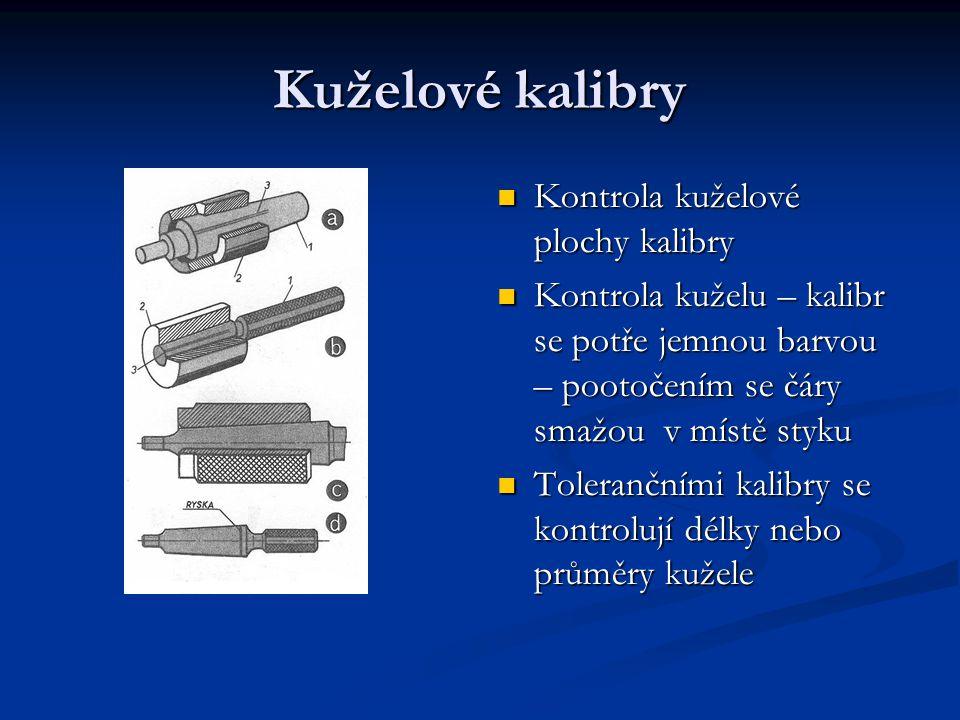 Kuželové kalibry Kontrola kuželové plochy kalibry