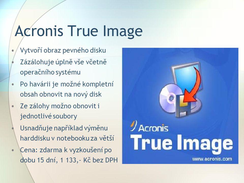 Acronis True Image Vytvoří obraz pevného disku