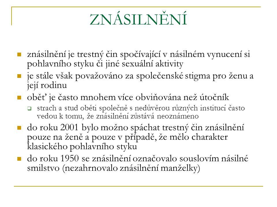 ZNÁSILNĚNÍ znásilnění je trestný čin spočívající v násilném vynucení si pohlavního styku či jiné sexuální aktivity.