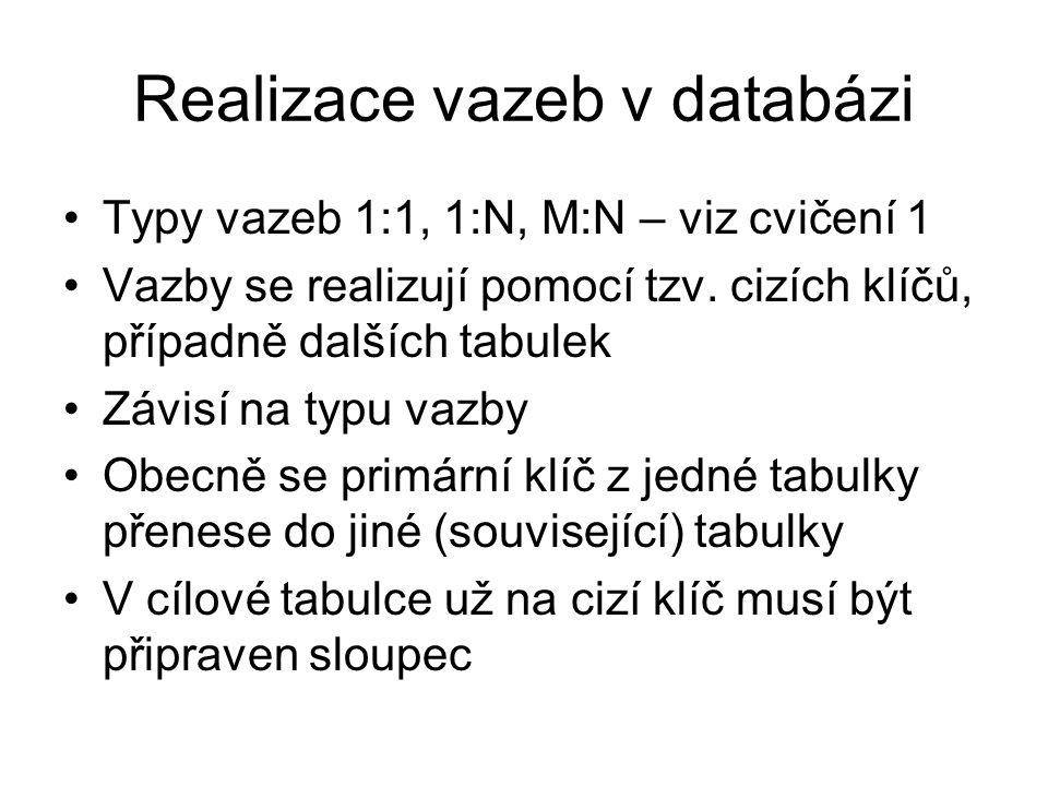 Realizace vazeb v databázi