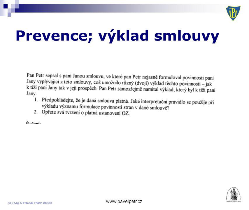 Prevence; výklad smlouvy