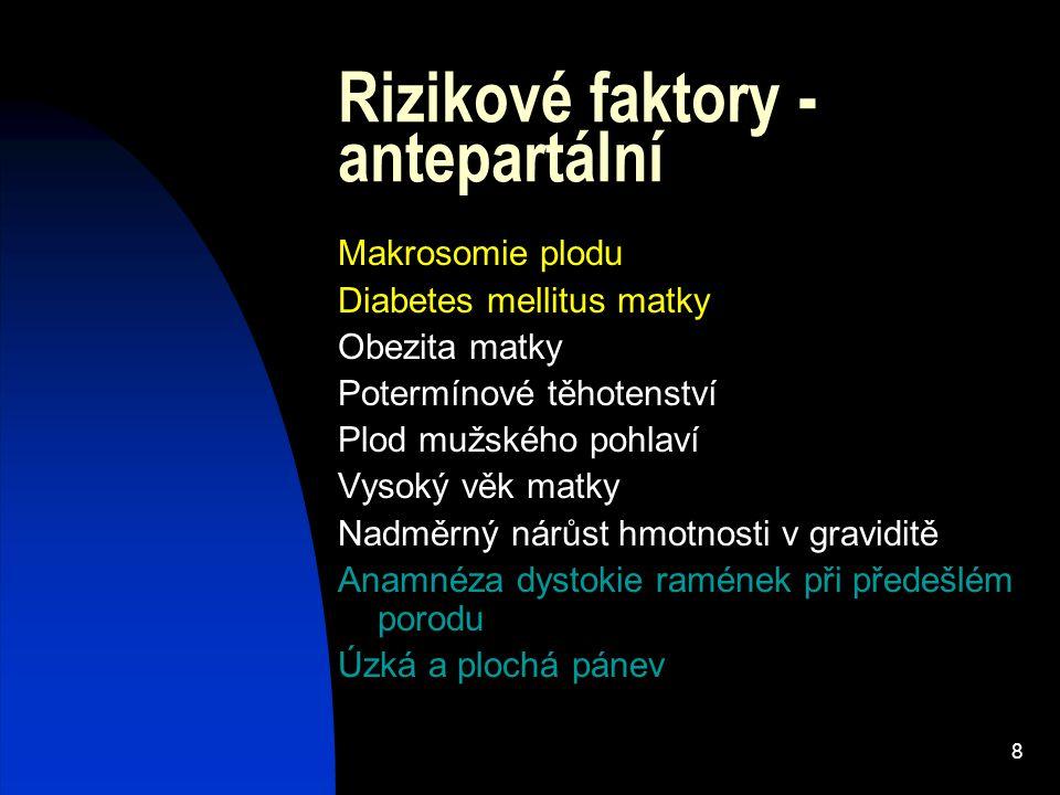 Rizikové faktory - antepartální